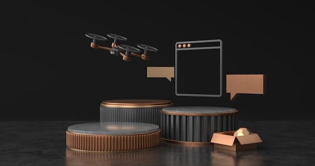 Визуализация дрона и подиума