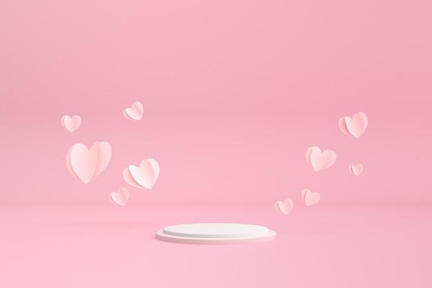 Рендеринг парящих бумажных сердечек и круглого подиума