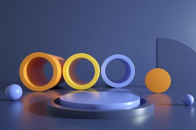 円形の表彰台で幾何学的なカラフルな形の背景のレンダリング