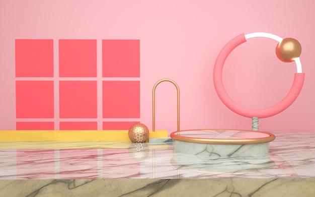 スタンド製品の幾何学的なピンクの背景のレンダリング