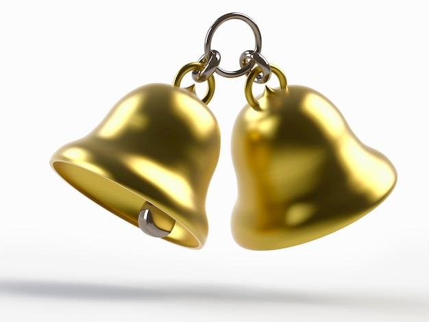 흰색 절연 황금 종소리의 렌더링