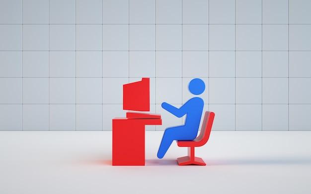 コンピューターで動作するイラストモデルのレンダリング
