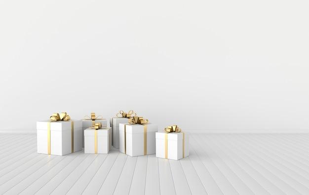 Визуализация интерьера с белой подарочной коробкой с бантом из золотой ленты