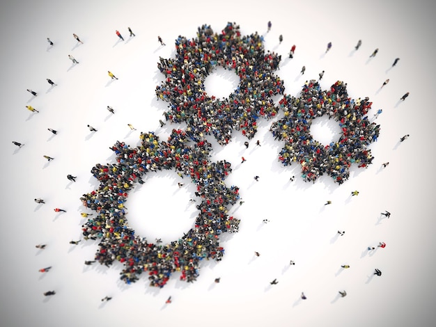 団結した人々のレンダリングは2つのギアを形成します