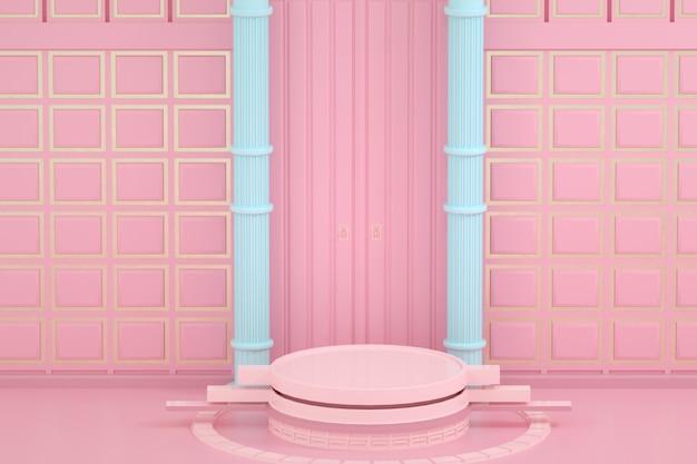 ピンクの表彰台製品のレンダリングは、ボードで空の背景を表示します