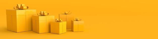 Рендеринг реалистичной желтой подарочной коробки с бантом из ленты