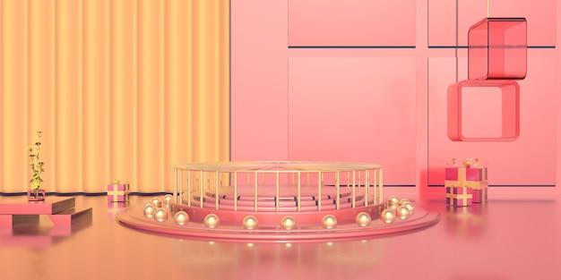 스탠드 제품을위한 선물 상자가있는 낭만적 인 모양의 연단 렌더링