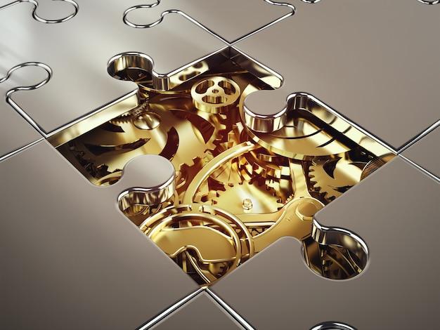 パズルで覆われた黄金のギアのシステムのレンダリング。システム間の協力の概念