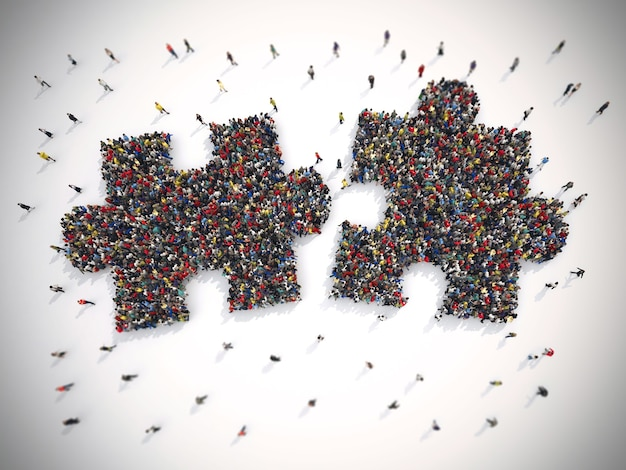 Rendering of people united form two pieces of puzzle