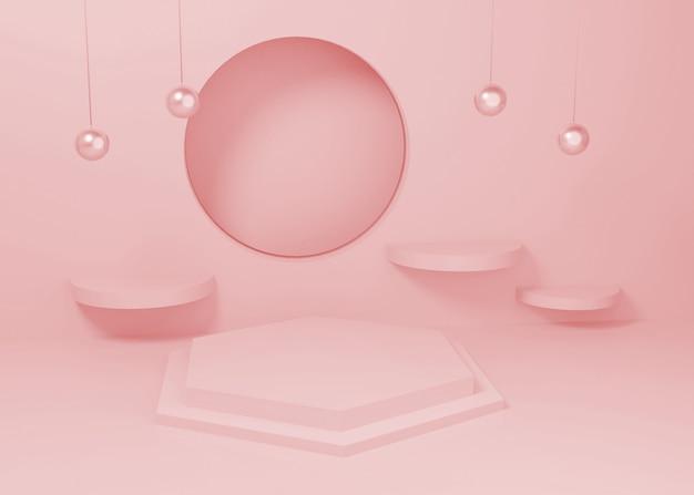 ピンクパステルディスプレイ表彰台製品スタンドのレンダリング
