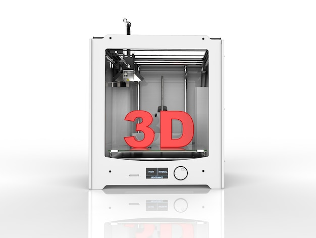 Rendering of a printer on white background in 3d rendering