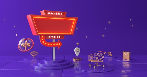 Rendering of signpost and shopping cart