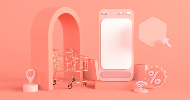 Rendering of smartphone and shopping cart for online shopping