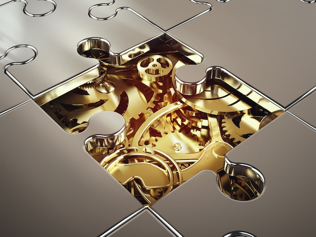 Rendering of system of golden gear covered by a puzzle. concept of cooperation between systems