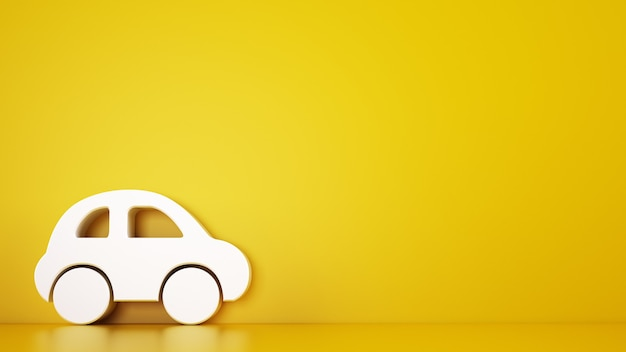 Rendering of a yellow background with white toy car