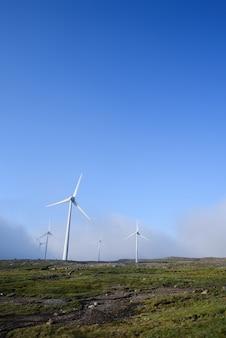 재생 가능한 전기. 언덕에 풍력 발전소입니다. 푸른 하늘 배경