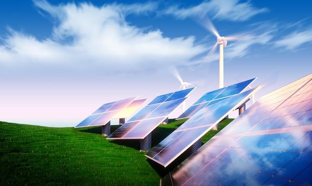 Концепция возобновляемых источников энергии - фотоэлектрические с ветряными турбинами в свежей природе