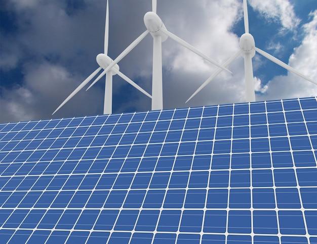 Концепция возобновляемой энергии с подключением к сети солнечных панелей и ветряных турбин. 3d визуализированная иллюстрация