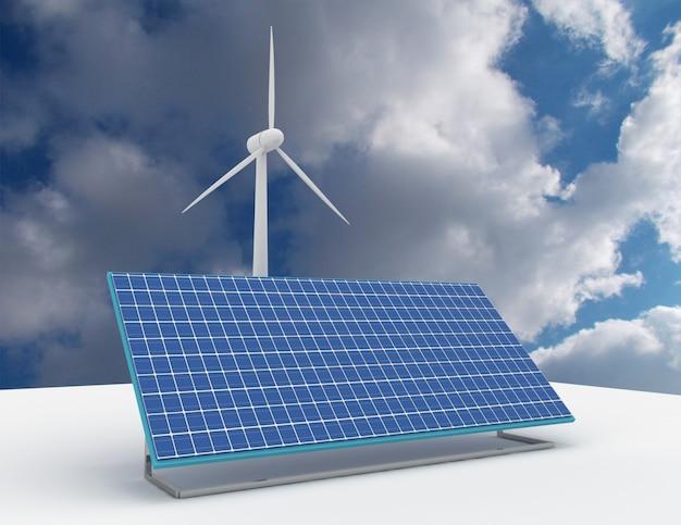 グリッド接続ソーラーパネルと風力タービンによる再生可能エネルギーの概念。 3dレンダリングされたイラスト