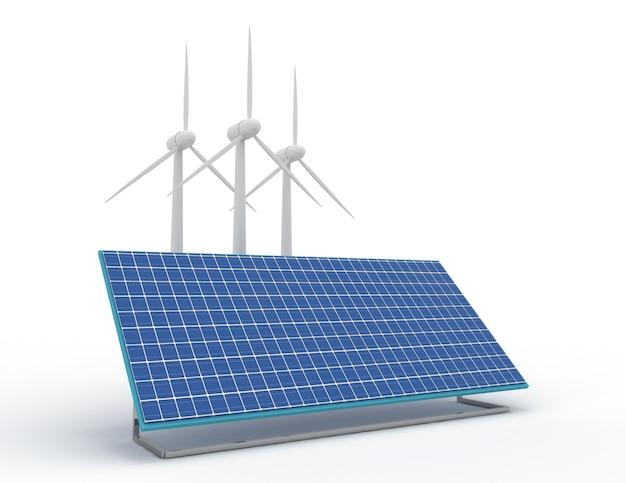 Концепция возобновляемой энергии с подключением к сети солнечных панелей и ветряных турбин. 3d визуализированная иллюстрация Premium Фотографии