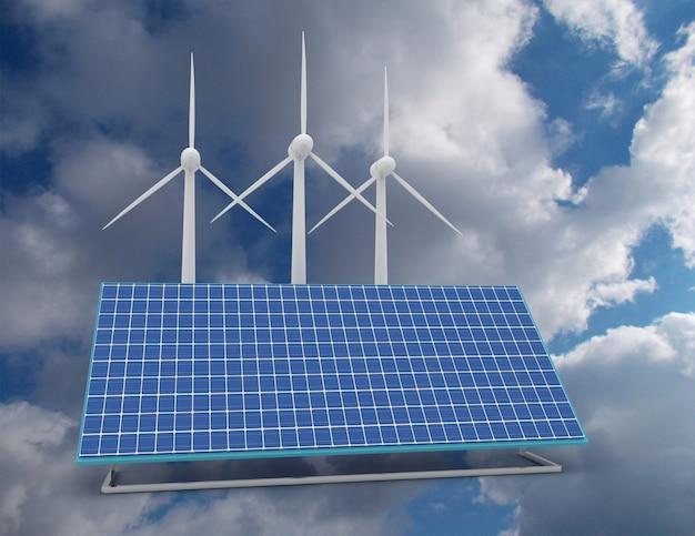 Концепция возобновляемой энергии с подключением к сети солнечных панелей и ветряных турбин. 3d визуализированный иллюстратор