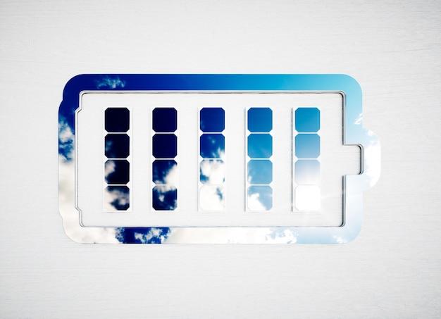 Знак хранения возобновляемых источников энергии на белом деревянном столе. 3d иллюстрации.
