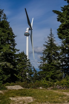 再生可能な風力。グリーン電力。風力エネルギー。