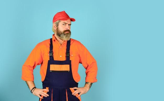 Renovation concept. mechanic perform technical work. electrician plumber handyman. call master. man skillful worker. laborer. repairman experienced worker. construction worker. fixing broken technics.