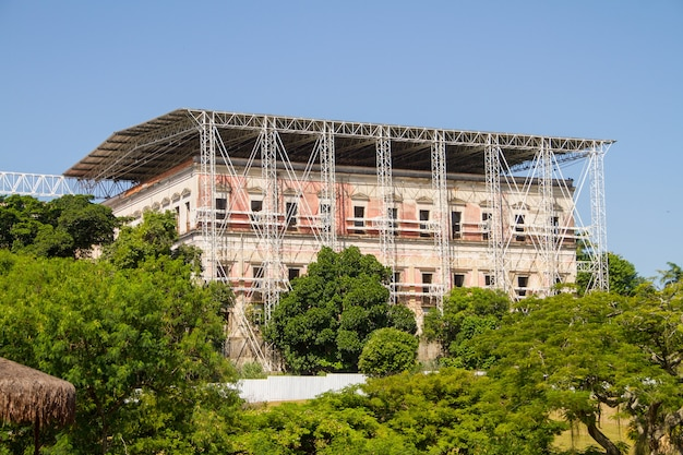 Renovation of the national museum in rio de janeiro, brazil - march 20, 2021: renovation of the national museum in quinta da boa vista in rio de janeiro.