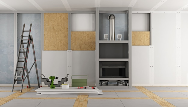 Renovation of an old house and fireplace paneling with drywall panels 3d rendering