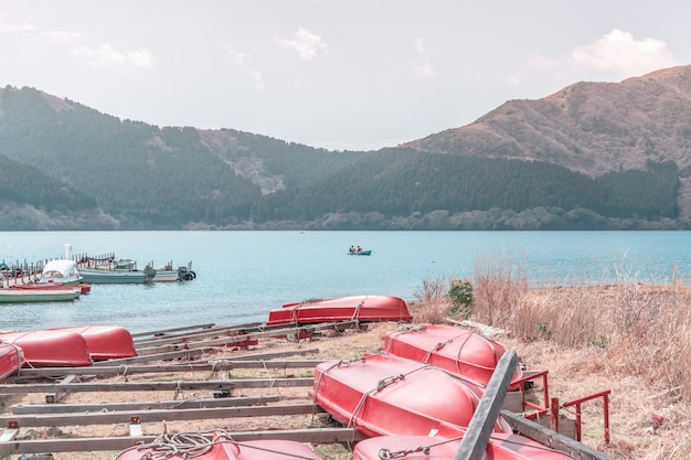 Renting boat on ashi lake of hakone, japan