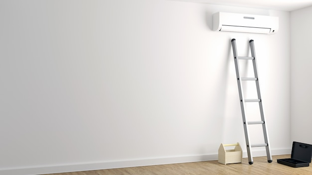 Repair of air conditioning on a white wall