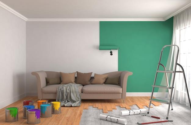 Ремонт и покраска стен в помещении. 3d иллюстрации