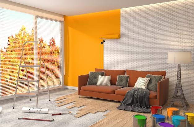 Ремонт и покраска стен в помещении