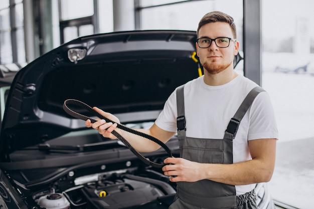 Repair man making car service