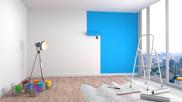 Repair and painting of walls in room