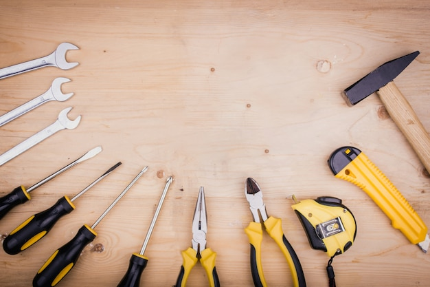 Repair tools - hammer, screwdrivers, adjustable wrenches, pliers. male concept for father's day
