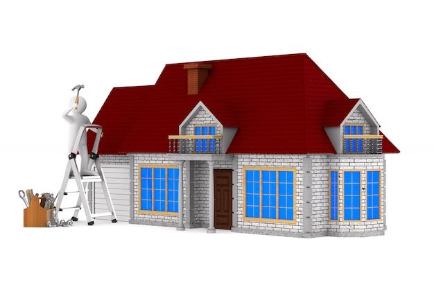 Ремонтник с деревянным ящиком для инструментов. изолированные 3d иллюстрации