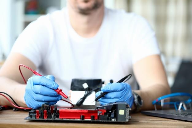 Repairman at workplace