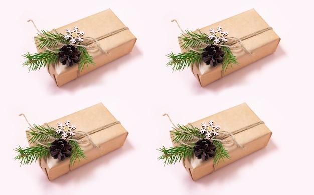 Повторяющийся узор новогодних подарков новогодние подарки украшены натуральными материалами и деревом