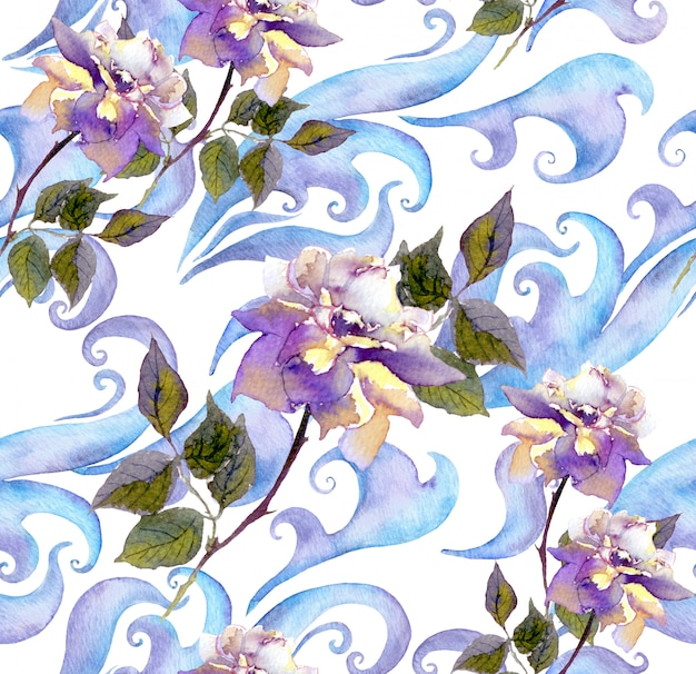Repeating winter watercolor floral pattern. watercolor ice design with rose flowers, scrolls and curves
