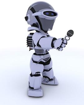3d визуализации робота репортер с микрофоном