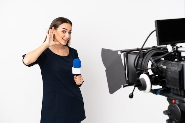 Репортер женщина держит микрофон и сообщает новости