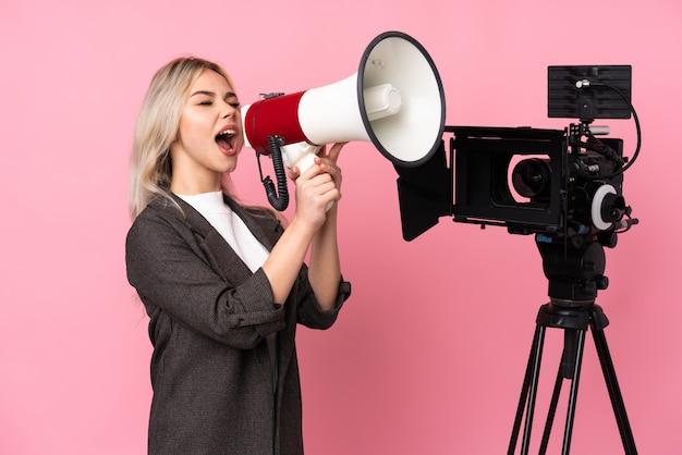 Reporter woman shouting