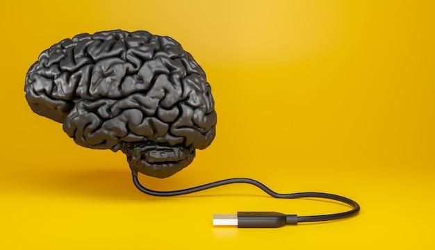 노란색 배경에 연결된 usb 케이블로 어두운 소재로 만들어진 인간 두뇌의 표현. 3d 그림