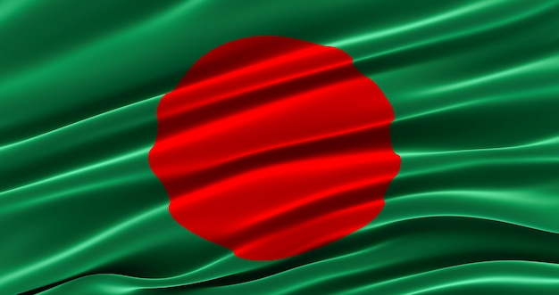 Republic of bangladesh. waving fabric flag of bangladesh, silk flag of bangladesh.