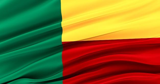 Республика бенин. развевающийся флаг ткани бенина, шелковый флаг бенина.