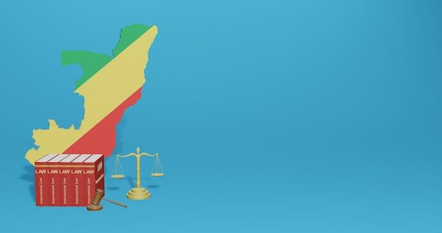 Закон республики конго для инфографики, контента социальных сетей в 3d-рендеринге