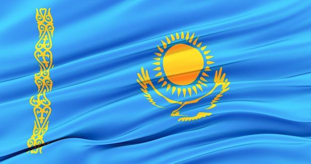 Республика казахстан, развевающийся тканевый флаг казахстана, шелковый флаг казахстана.
