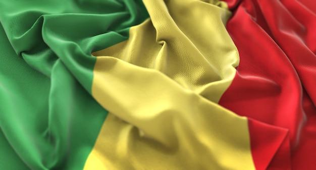 콩고 공화국의 국기를 아름 답게 흔들며 매크로 클로즈업 샷